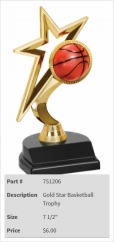 Gold Star Basketball Trophy