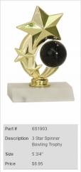 3-Star Spinner Bowling Trophy