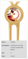 Gold Divot Tool with Custom Graphic Ball Marker