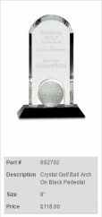 Crystal Golf Ball Arch On Black Pedestal Trophy