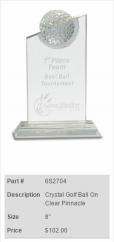 Crystal Golf Ball On Clear Pinnacle Trophy 2