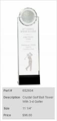Crystal Golf Ball Tower w/3D Golfer Trophy