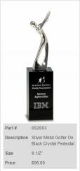 Silver Metal Golfer On Black Crystal Pedestal Trophy