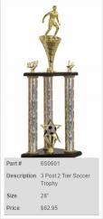 3 Post 2 Tier Soccer Trophy