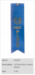 1st Place Blue Carded Ribbon