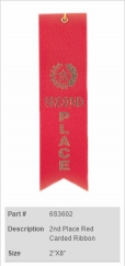 2nd Place Red Carded Ribbon