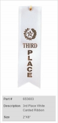 3rd Place White Carded Ribbon