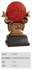 Basketball Ribbon Award