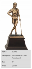 Bronze Female Golfer Resin Award-1