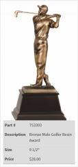 Bronze Male Golfer Resin Award-1