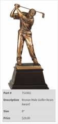 Bronze Male Golfer Resin Award-2