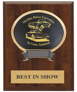 Laser Oval Car Show Award w/ Plaque