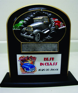 Bust Thru Oval Resin Car Show Award on Stand